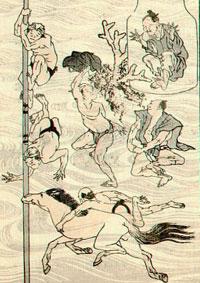 Hokusai-Manga mit der Darstellung badender Menschen
