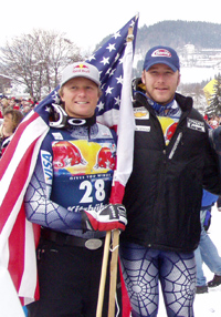 Bode Miller (rechts) und sein Teamkollege Daron Rahlves nach einem Weltcuprennen