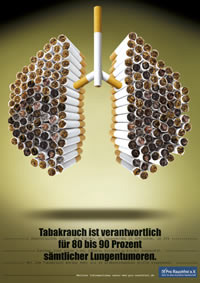 """""""Tabakrauch ist verantwortlich für 80 bis 90 Prozent sämtlicher Lungentumoren"""" - Aktionsplakat von Pro Rauchfrei."""