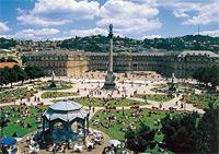 Der Schlossplatz ist der zentrale Ort in der Stadtmitte. Hier werden alle WM-Spiele live übertragen.
